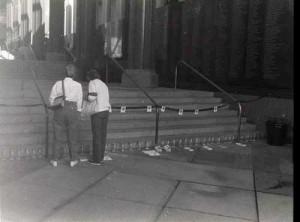 AIDS Bottle Project blocks entrance to LACMA 1991