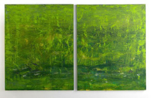 """Fertile Bog, 2014 dipytch, oil and cold wax on wood; 60"""" x 96"""""""